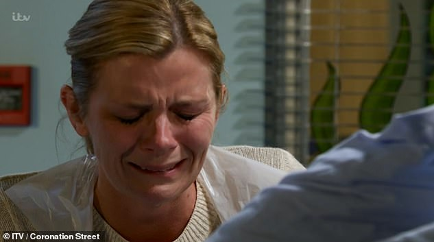 Devastating:Coronation Street viewers were left 'sobbing' on Friday night, as Leanne 's son Oliver tragically passed away