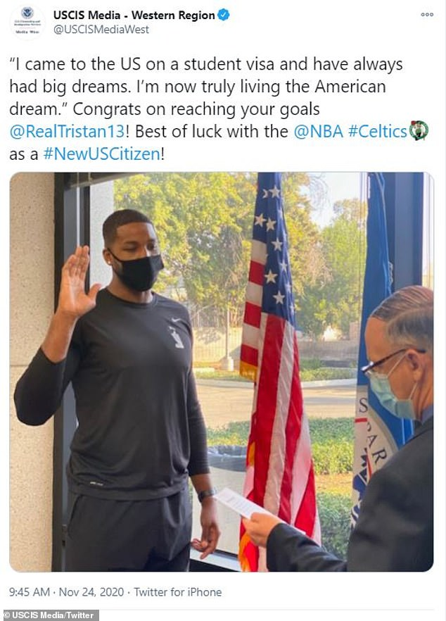 Proud: Tristan Thompson officially became a U.S. citizen following his decision to join the Boston Celtics, after moving to the United States in 2009 on a student visa