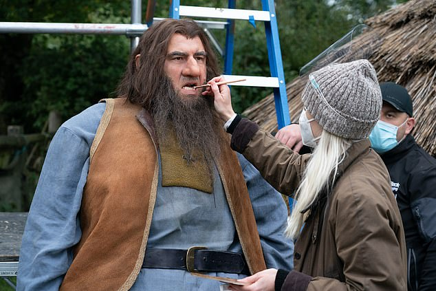 BTS: Snaps from set revealed David having his makeup topped up during filming