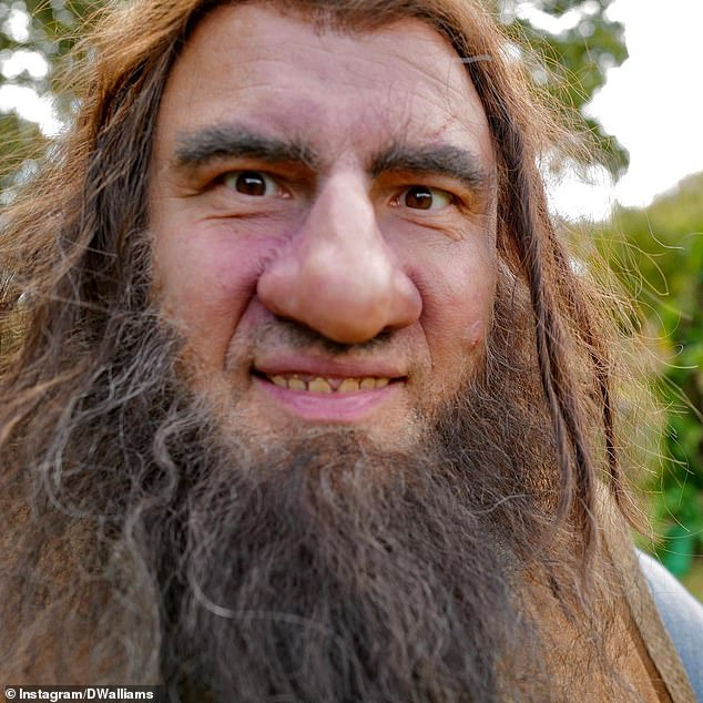 Close up: David completely committed to his look, rocking a long beard and lots of makeup for the role of Giant
