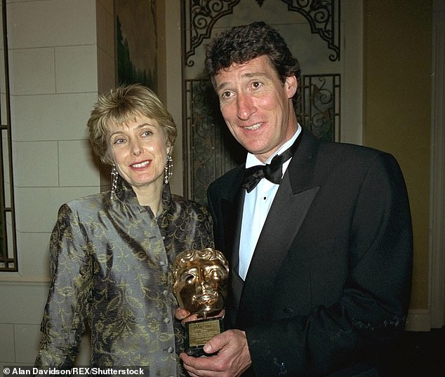 Pictured: Paxman with his ex-wifeElizabeth Clough at the Bafta Awards in 1996