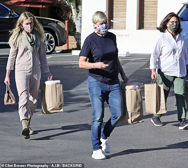 Refueling: Ellen DeGeneres, 62, and wife Portia de Rossi, 47, walked the California coast to Santa Barbara on Saturday to shop at a Wendy Foster boutique