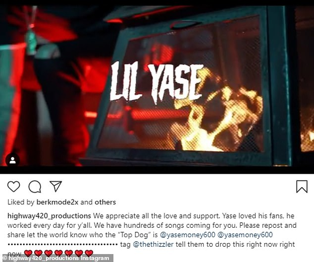 'Appreciate all the love and support': Instagram account of his label Highway 420 Productions posted in honor of the fallen rapper on Saturday afternoon