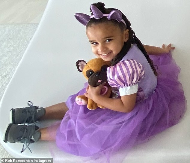 Costume required: Rob shared a cute photo of Dream in a purple Rapunzel dress with a matching unicorn horn on her head