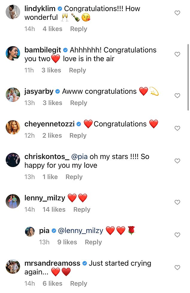 To the happy couple: Pia's celebrity friends including Lindy Klim, Jasmine Stefanovic and model Cheyenne Tozzi each congratulated the star on the good news
