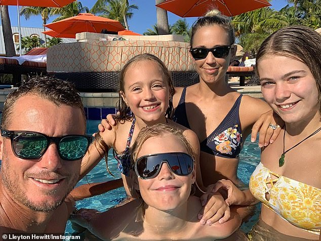 Family of five: Bec and Lleyton share three children, Mia, Ava and Cruz (all pictured)