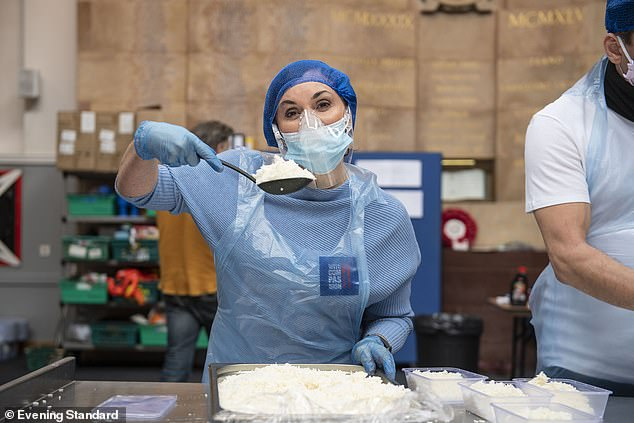 She said: 'It touches the heart when you help people get a basic meal.  I come from a consulting field.  I had free school dinners ¿I find that quite moving '
