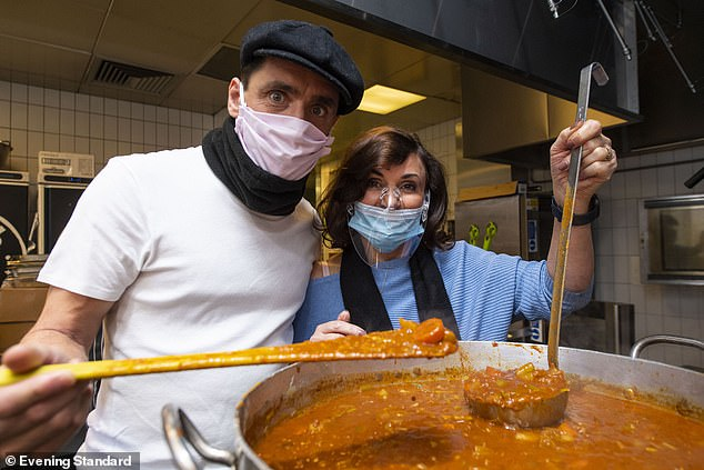 Couple: Shirley was also joined by boyfriend Daniel Taylor as the couple helped prepare a chickpea stew