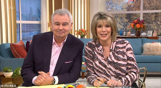 Out: Eamonn Holmes made a snide comment about his This Morning departure on his final day in the Friday hosting slot with his wife Ruth Langsford