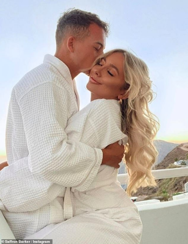 Smitten: Saffron told MailOnline over the summer that she fell in love with boyfriend Tyler Dixon during the lockdown, with the couple flying to Santorini once restrictions were relaxed