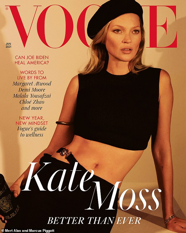 Age-defying beauty:Kate embraced a boho chic look for her second cover as she wore a black beret over her blonde tresses and showed off her toned abs in a black crop top