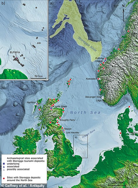 Doggerlandwas largely submerged following a tsunami in around 6,200 BC — evidence for which has been detected all around the shores of the North Sea (as pictured) and even as far as 50 miles inland in Scotland