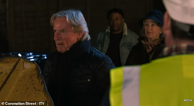 Leading the fight: Enthusiast Ken Barlow (William Roache) is seen screaming at bulldozers in the preview in an attempt to save the cobblestones of development