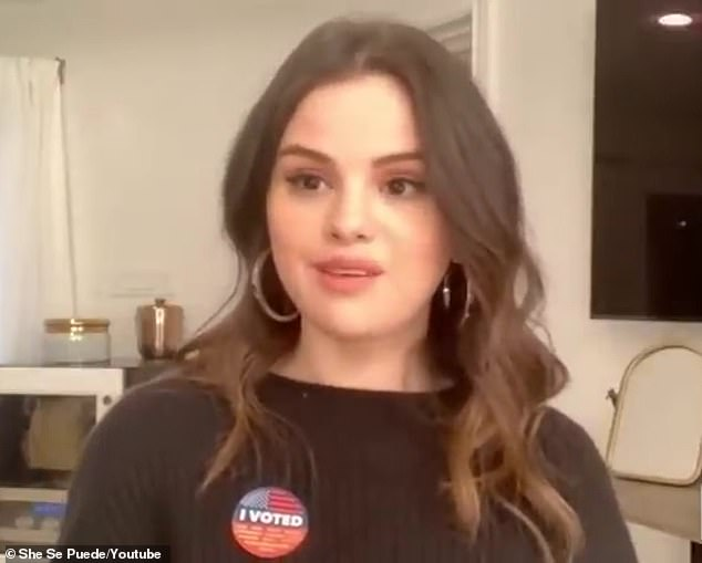 'Learning from my mistakes': And while Selena admitted she didn't vote in the 2016 presidential election, she now feels a responsibility to use her platform in a 'meaningful way' (pictured October 24)
