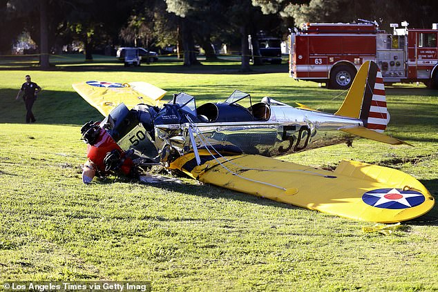 Close call: Ford suffered serious injuries when he made an emergency landing, due to engine failure, with his World War II-era Plane on to Penmar Golf Course n Venice, California.