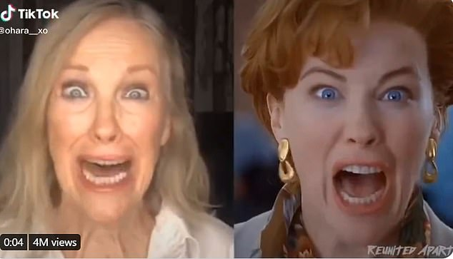 Blast from the past: Catherine O'Hara has recreated one of her most memorable scenes from Home Alone when her character realised she forgot her son on a family trip