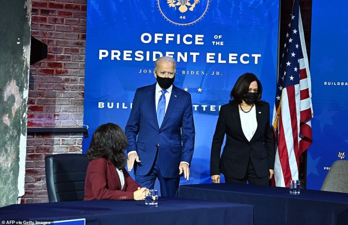 Walk with caution: Biden entered the Queen Theater with his Vice President-elect Kamala Harris