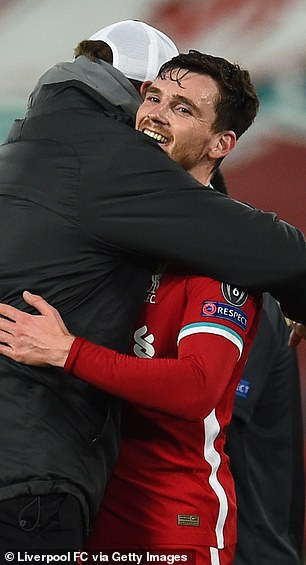 Andy Robertson received a big hug from Klopp on the final whistle