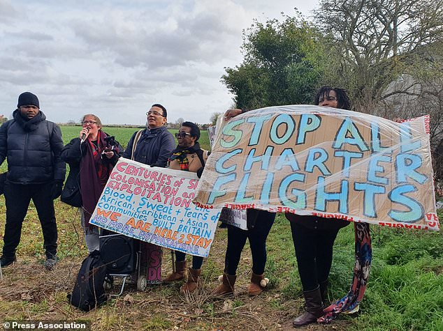 Convicted killer Michael Antonio White, who was removed off a Home Office flight last month, received £93,555 in legal aid it has been revealed. Pictured: Anti-deportation protesters