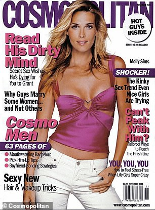 Her early days as a model: Sims flashed her tummy in this cover for Cosmopolitan