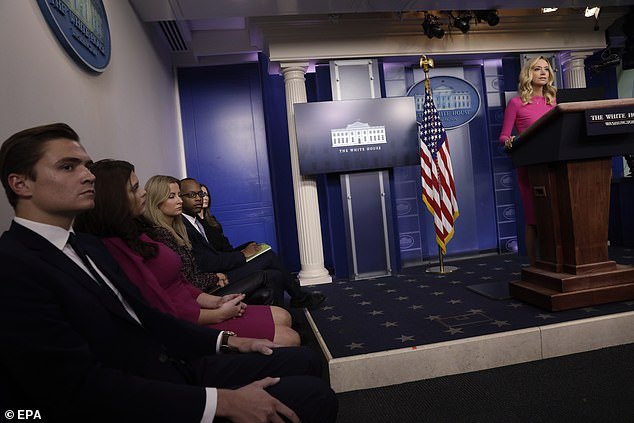 White House staff and guests usually sit to the side of the briefing room during a briefing, as seen above, the first person above is Chad Gilmartin, Sean Gilmartin's cousin who works for Kayleigh McEnany.