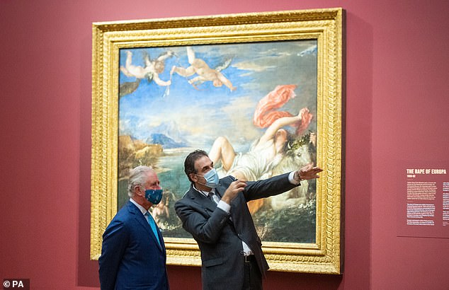 The Prince of Wales alongside National Gallery Director Dr Gabriele Finaldi today