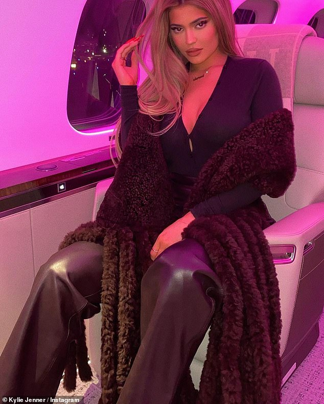 Swanking about:She sat for a string of glamorous pictures in her Kylie Air jet, which she is rumored to have bought for $73 million, according to the Daily Mirror