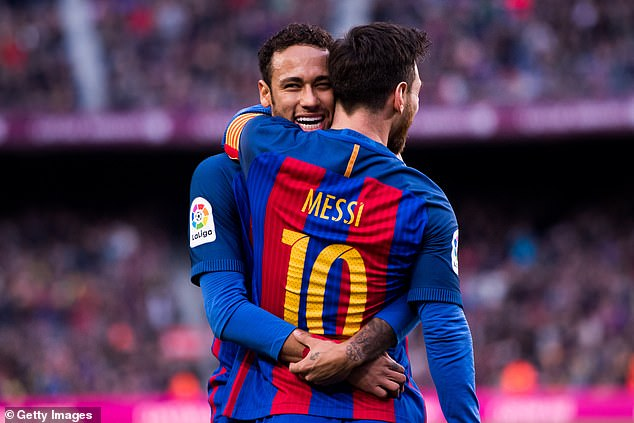 Neymar said that he wants to reunite with Lionel Messi (pictured together at Barcelona in 2017)