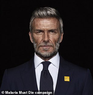 After:The former professional footballer, 45, had been given greying locks, age spots and wrinkles in the Malaria Must Die, So Millions Can Live campaign