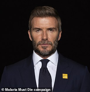 Changes: David Beckham was digitally aged to look 70-years-old as he calls for action to help prevent deaths caused by Malaria in a campaign video released on Wednesday