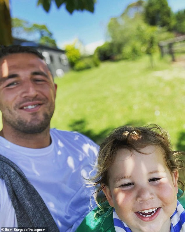 Creating memories:The NRL star, 31, shared a series of photos to Instagram while he spent time outdoors with his son