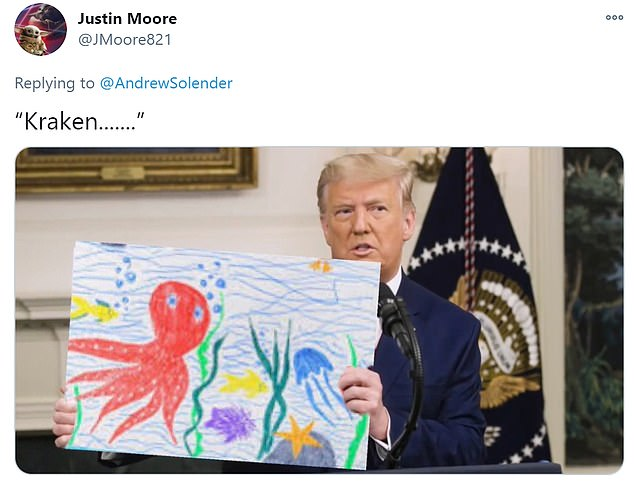 Twitter users were quick to take to social media to share memes mocking President Donald Trump for holding visual graphics during a bizarre 46-minute video that he posted on Facebook where he called for the election to be 'overturned'