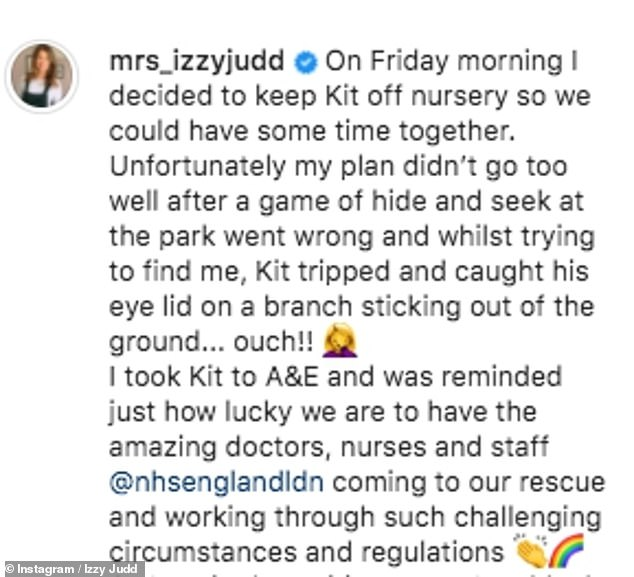 Ouch: Izzy explained what happened to her son and praised the NHS for all their help