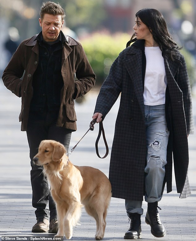 Dream of a duo: Hailee Steinfeld and Jeremy Renner were glimpsed shooting their Hawkeye series in New York's Washington Square Park on Thursday