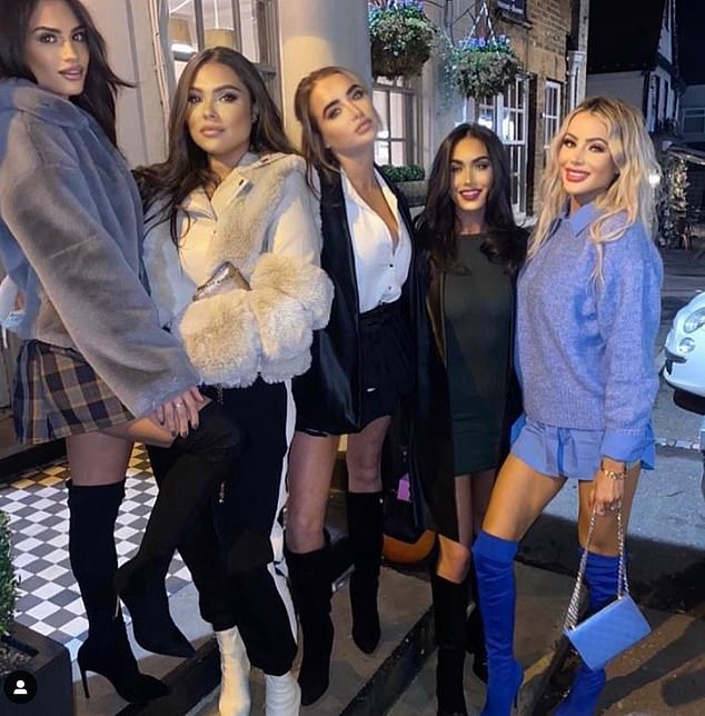 Old pals: Fran pictured recently with her TOWIE pals Nicole Bass, Georgia Harrison, Cleliau00A0Theodorou and Olivia Attwood
