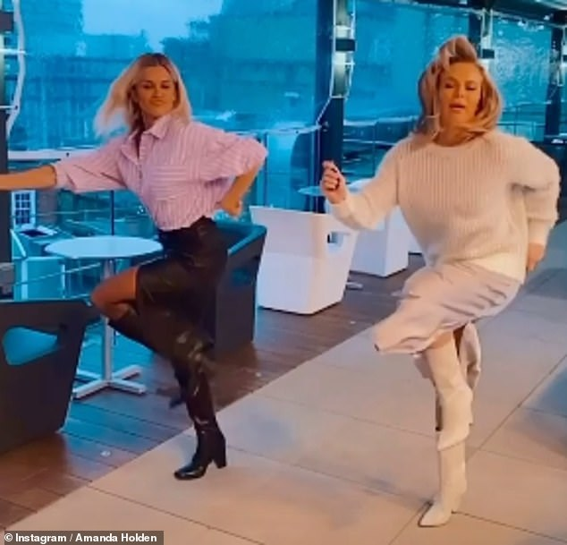 Dance: The pair were then seen dancing in a boomerang on Amanda's stories