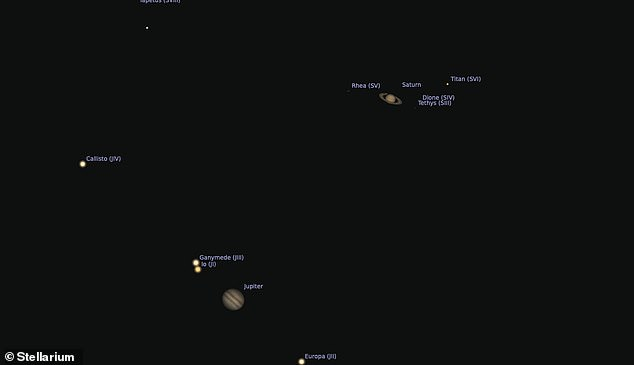 Onlookers with a telescope viewing the conjunction tonight will see not only Jupiter and Saturn, but also some of their largest moons in the same field of view, astronomers have said