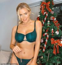 TOWIE's Chloe Meadows gets into the festive spirit in racy green lingerie