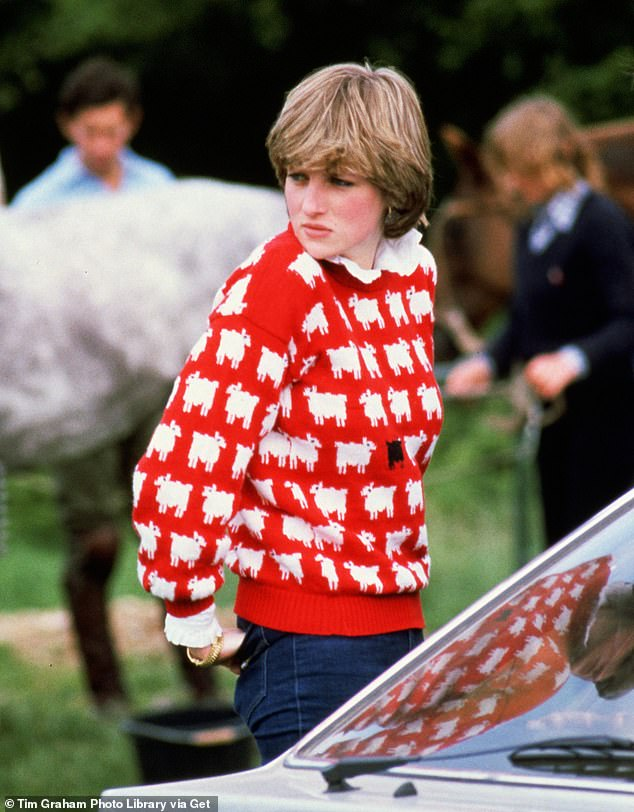 Iconic:The late Princess of Wales famously wore the item of clothing, created by Joanna Osborne and Sally Muir's Warm and Wonderful, in 1981 at the Guards Polo Club at Smith's Lawn in Windsor and again in 1983 (pictured in 1981)