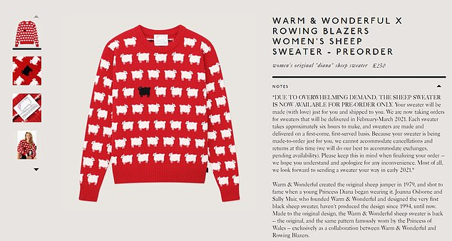 Popular: The wildly popular jumper is now available for pre order