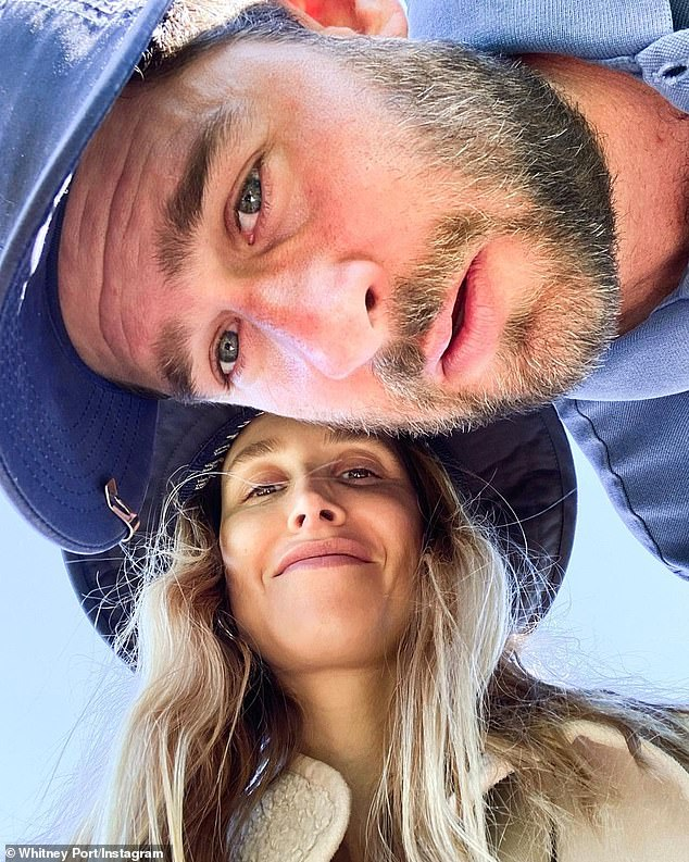 Lovebirds: While filming her reaction to an old episode of The Hills, Port wrote that she was thankful for her husband of five years Tim; pictured yesterday