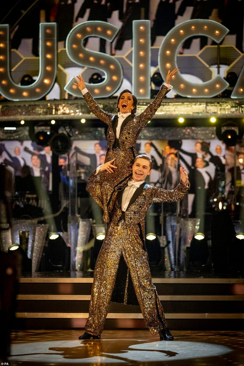 Putting on a show:The YouTuber, 21, and his professional partner dazzled the judges with their 'amazing' American Smooth to One (Singular Sensation) from A Chorus Line