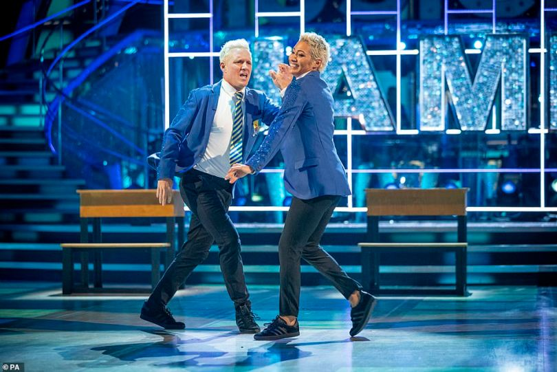 Giving it his all! Jamie Laing and Karen Hauer also impressed with theirJive to the song Everybody's Talking About Jamie from the hit musical