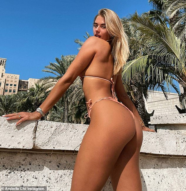 Sending temperatures soaring: It comes after Arabella showcased her enviably bronzed bikini body in a another Instagram post in Dubai on Thursday