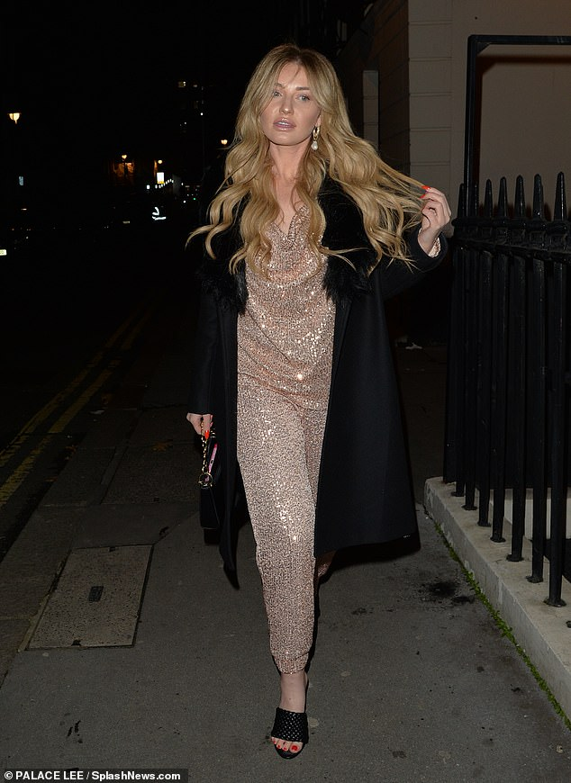 Shimmer:Amy Hart looked every inch the star as she headed for dinner in London on Saturday