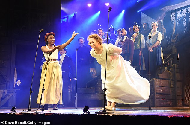 Happy to be back: Shan Ako and Carrie Hope Fletcher struggled to contain their joy onstage