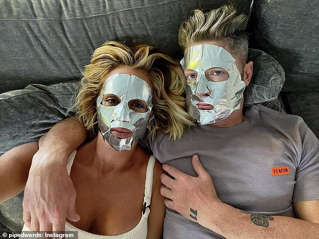 Self care:Pip Edwards and Michael Clarke spent a day having fun in the sun on Sunday.Afterwards, they quenched their skin with matching therapeutic face masks, sharing the process to Instagram. Both pictured
