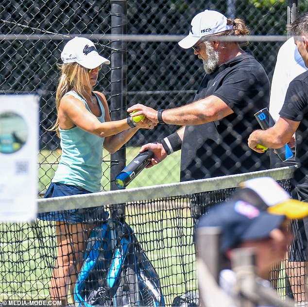 She's a ten-nis! Russell appeared to be in his element as he hit the court with Louisiana-based Britney, who is 26 years his junior