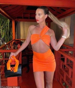 Ferne McCann is an orange sensation in a VERY scanty mini dress
