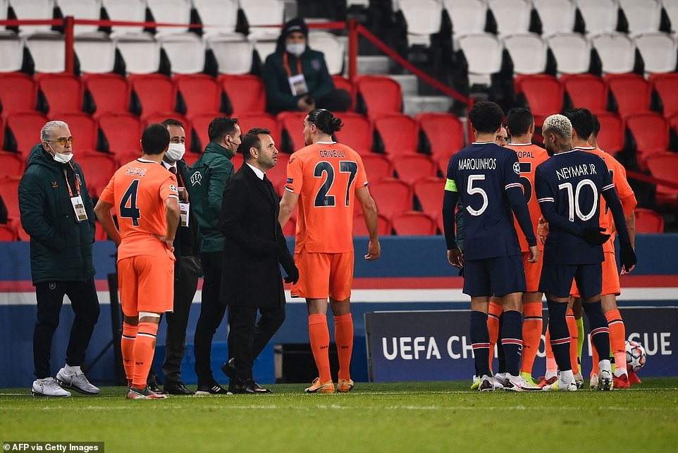 PSG and Istanbul Basaksehir players walked off as their match was abandoned on Tuesday